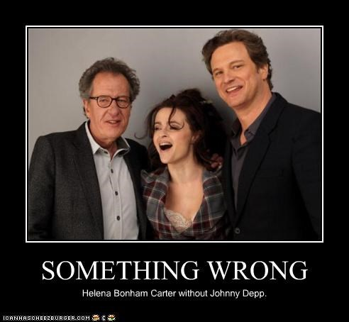 actor,celeb,Colin Firth,demotivational,funny,Geoffrey Rush,helena bonham-carter