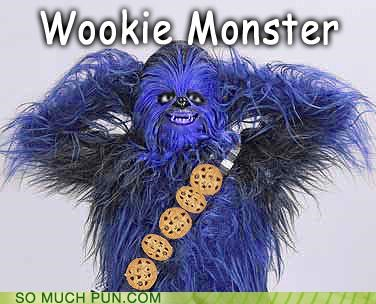 chewbacca,chocolate chip,combination,cookies,Cookie Monster,favorite,flavor,kind,mashup,sith,star wars,wookie