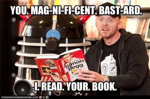 actor,books,comedian,daleks,doctor who,lolz,sci fi,Simon Pegg