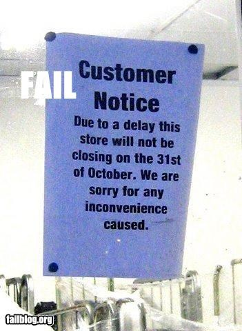 customers,failboat,hours of operation,inconvenience,notes,signs