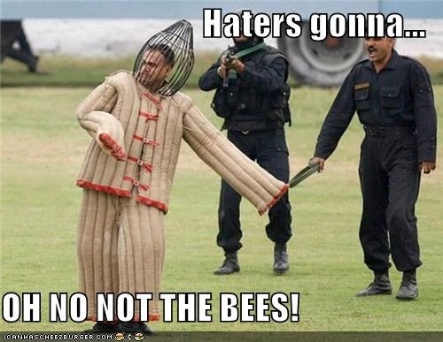 Haters gonna...  OH NO NOT THE BEES!
