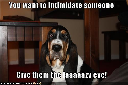You want to intimidate someone  Give them the laaaaazy eye!
