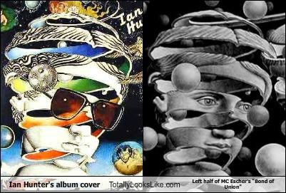 "Ian Hunter's album cover Totally Looks Like Left half of MC Escher's ""Bond of Union"""