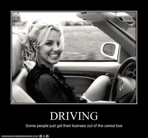 singers,britney spears,cars,cereal,driving,FAIL,lolz