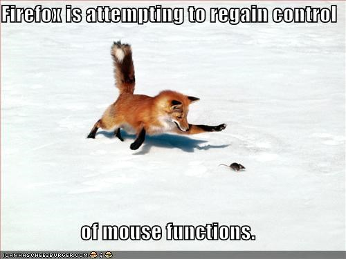 Firefox is attempting to regain control  of mouse functions.