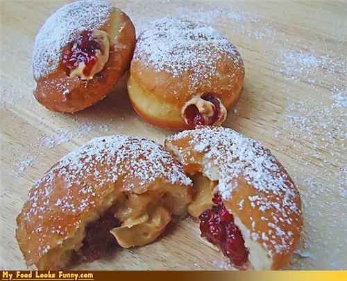 Funny Food Photos - Peanut Butter and Jelly Donuts