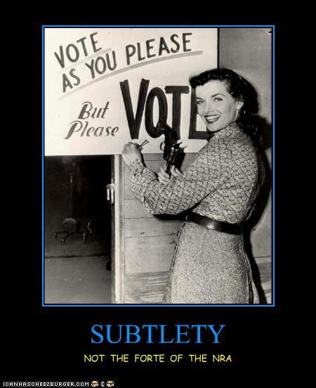 demotivational,funny,lady,NRA,Photo,photograph,vote