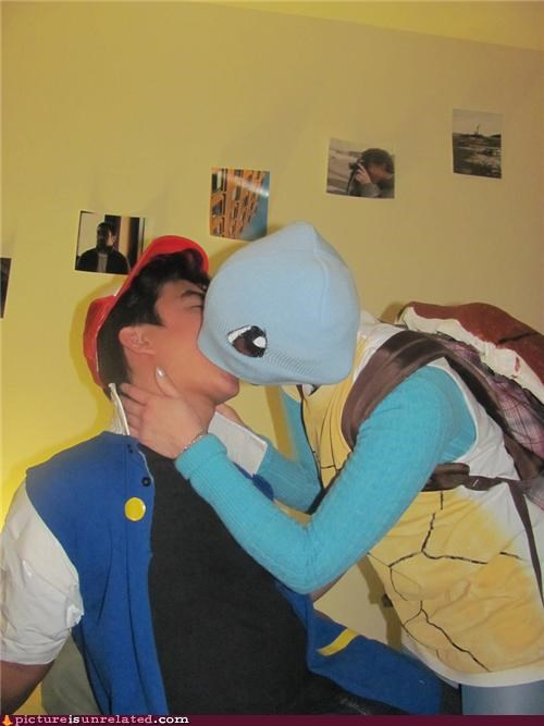 ash ketchum,costume,hats,kissing,Pokémon,Rule 34,squirtle,wtf