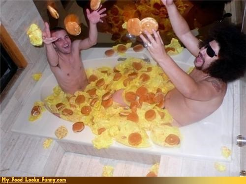 Funny Food Photos - Cheeseburger Bath