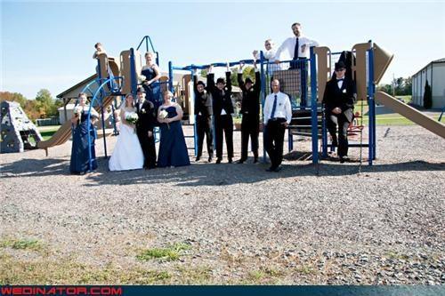 bride,funny wedding photos,groom,playground antics,playground wedding picture,random wedding picture,silly wedding photo,wedding party,wedding party gang,wedding party photo,Wedding Themes,wedgies,white people