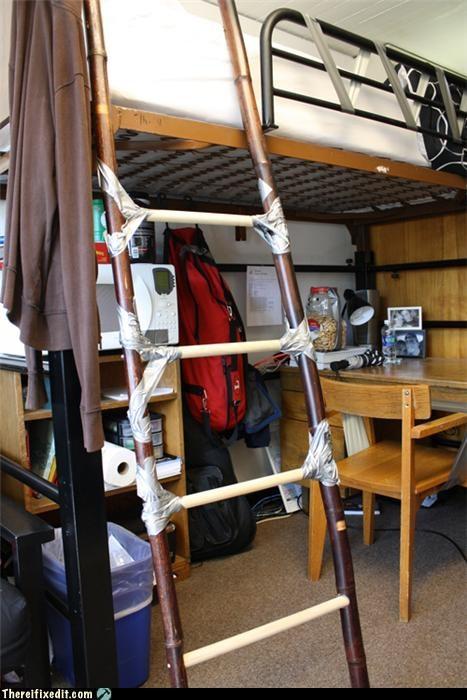 dangerous,duct tape,homemade,ladder