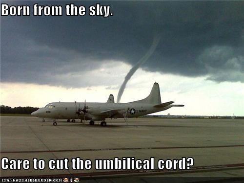 Born from the sky.  Care to cut the umbilical cord?