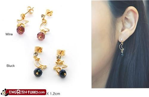 bluck,Earring,engrish