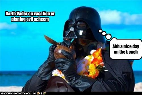 Darth Vader on vacation or planing evil scheem