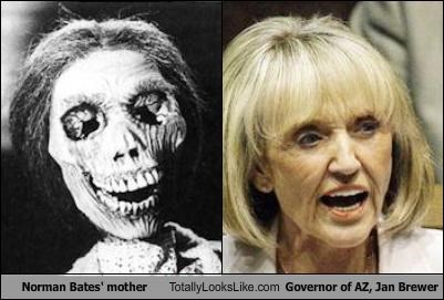 Norman Bates' mother Totally Looks Like Governor of AZ, Jan Brewer
