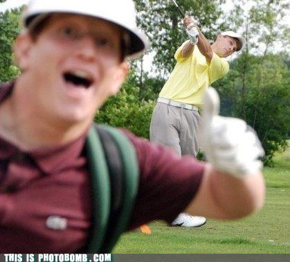 golf,photobomb,sports,thumbs up