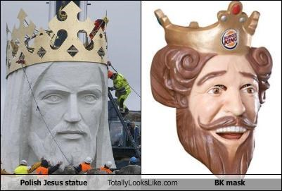 burger king,jesus,mascots,mask,poland,statue,the burger king