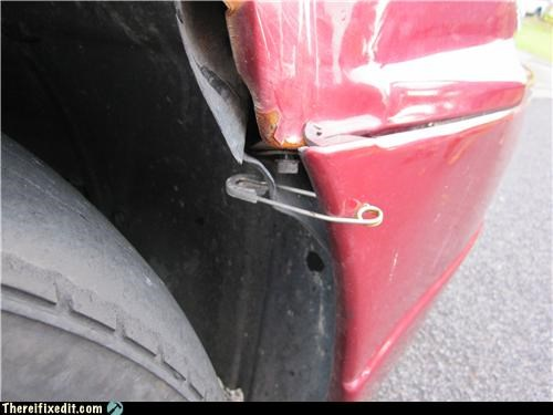 bumper,car,safety pin,strapped together