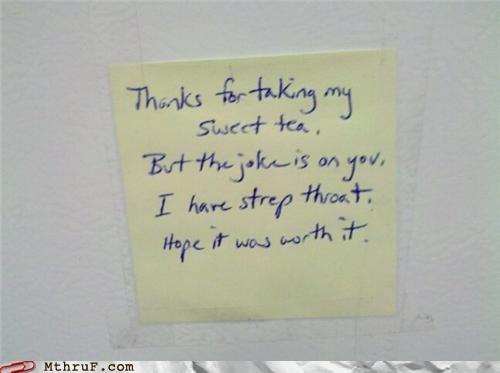 notes,passive aggressive,sweet tea,thief