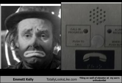 Emmett Kelly Totally Looks Like Thing on wall of elevator at  my son's orthodontist