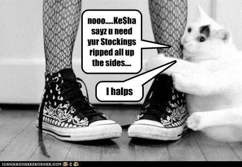 nooo.....Ke$ha sayz u need yur Stockings ripped all up the sides....