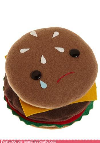 burger,cheeseburger,face,Plush,Sad,soft