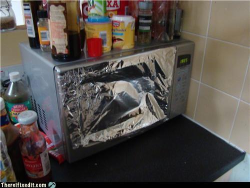 dangerous,microwave,tin foil