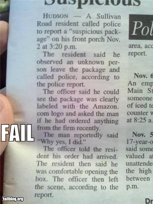 Suspicious Package Fail