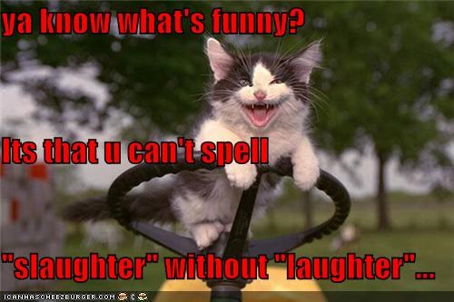 "ya know what's funny? Its that u can't spell  ""slaughter"" without ""laughter""..."