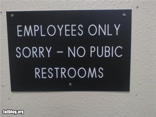 failboat,pubic,public,restrooms,signs,spelling