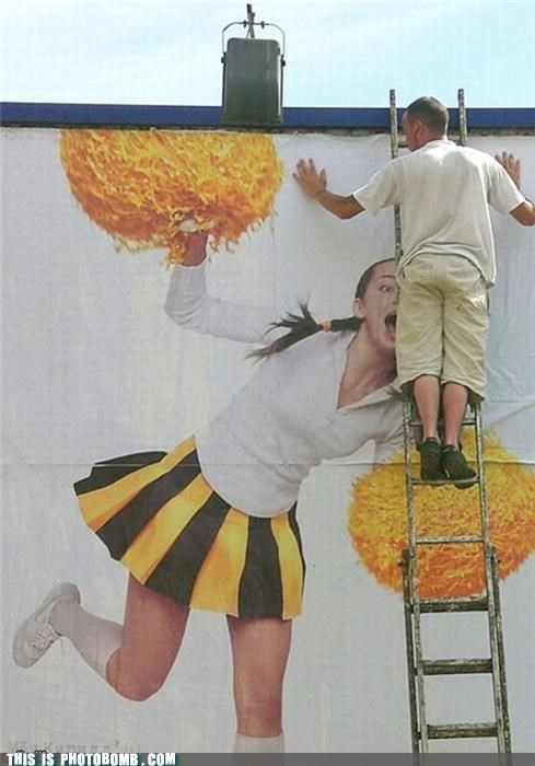 advertisement,cheerleader,implied oral sex,ladder,Perfect Timing,photobomb