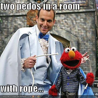 two pedos in a room  with rope...