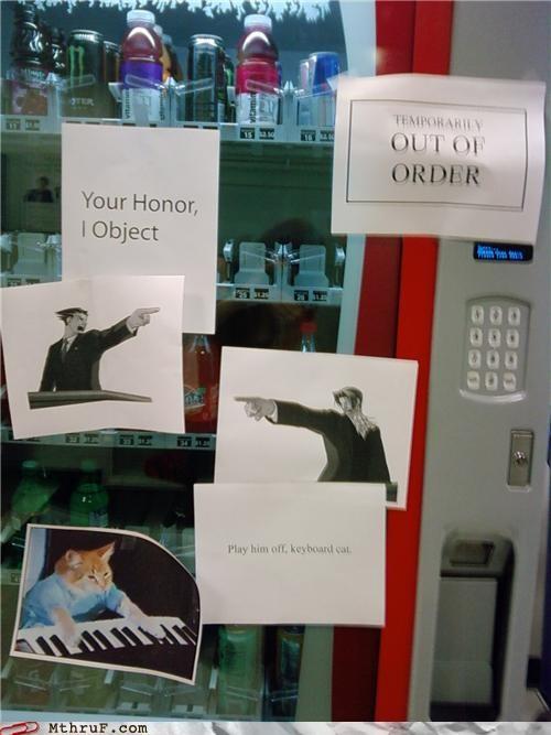Keyboard Cat,notes,phoenix wright,signs,vending machine
