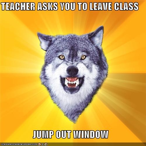 animemes,class,Courage Wolf,Memes,school,window