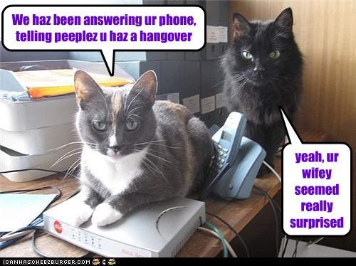 We haz been answering ur phone, telling peeplez u haz a hangover