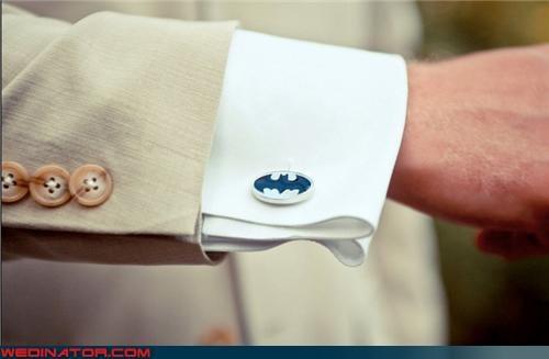 Batman cufflinks,Batman themed groomswear,batman themed wedding,Bling,fancy,fashion is my passion,formal wear,funny wedding photos,groom,surprise