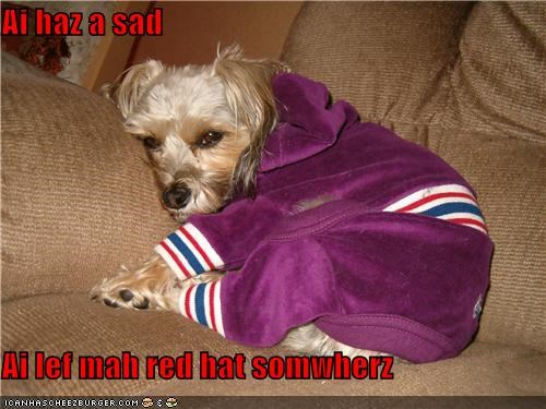 Ai haz a sad  Ai lef mah red hat somwherz