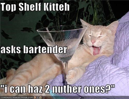 "Top Shelf Kitteh asks bartender ""i can haz 2 nuther ones?"""