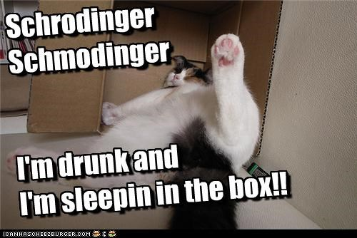 Schrodinger Schmodinger   I'm drunk and  I'm sleepin in the box!!