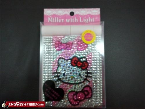 bedazzled,beer,hello kitty
