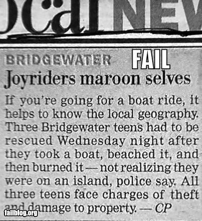boats,failboat,fire,g rated,island,newspaper,police,poor planning,water