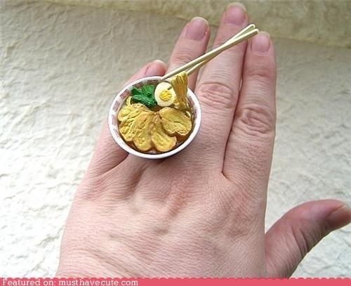 accessory,bowl,chop sticks,food,Jewelry,miniature,ramen,ring