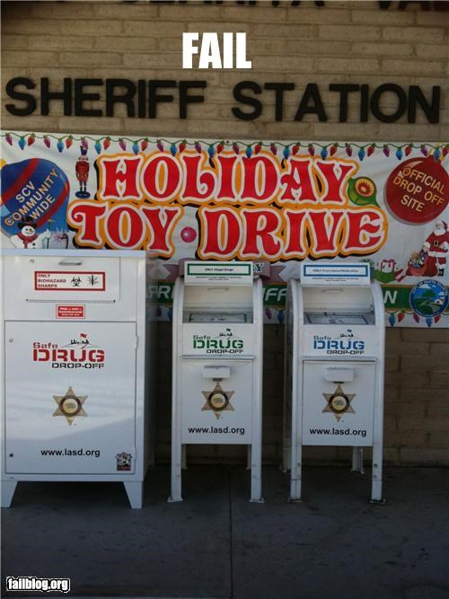 donations,drugs,failboat,g rated,labels,mix up,toy drive,yikes