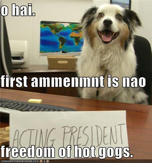 o hai. first ammenmnt is nao freedom of hot gogs.