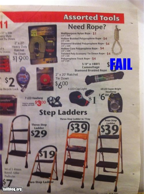 Ad,bad idea,Death,failboat,ladders,layout,noose,rope