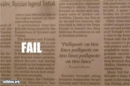 Newspaper quote fail