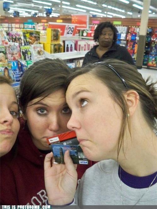 consumerism,hmph,photobomb,shopping,visa cards
