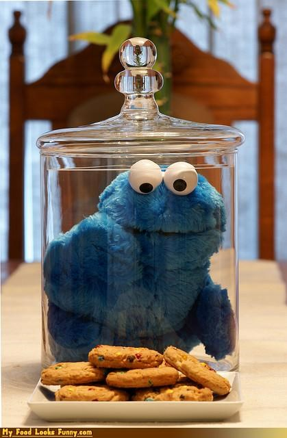 Funny Food Photos - Cookie Monster in Cookie Jar