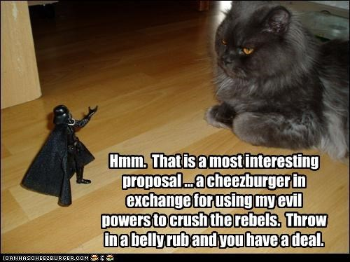 Hmm.  That is a most interesting proposal ... a cheezburger in exchange for using my evil powers to crush the rebels.  Throw in a belly rub and you have a deal.