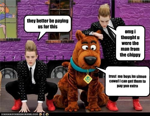 jedward  hangin out with scooby doo aka simon cowel